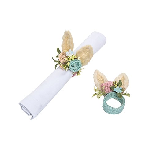 GALLERIE II Springtime Rabbit Bunny Ears Flower Blue Pink Easter Spring Decorative Sacking Handmade Napkin Ring Decor Decoration A/2 Napkin Ring Set of 2 Springtime Rabbit Ears