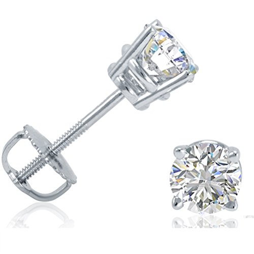 AGS Certified 3/4ct TW Round Diamond Solitaire Stud Earrings in 14K White Gold with Screw Backs