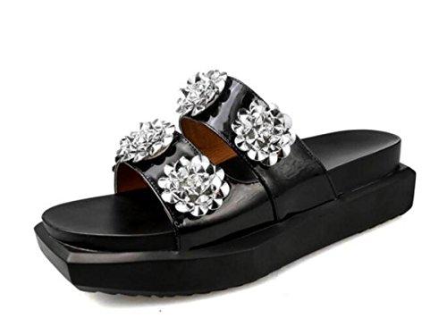 PBXP Pantofole Donna Piattaforma OL Elegante Strass Decorazioni Fiore Antiscivolo Scarpe Casual Confortevoli UE Taglia 35-40 , black , 40