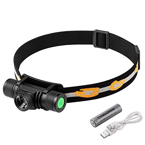 TANSOREN LED Headlamp Flashlight Zoom able USB Rechargeable Waterproof with 18650 Rechargeable Battery