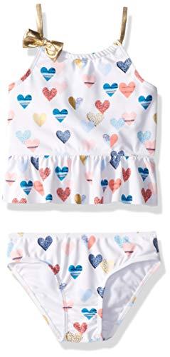 (Jessica Simpson Toddler Girls' Two-Piece Tankini Swimsuit Set, White Hearts, 3T)