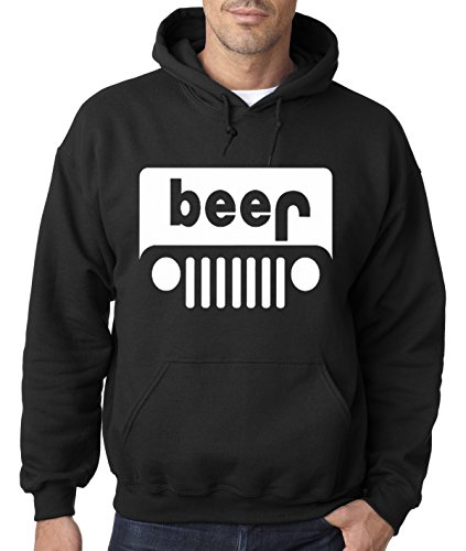 New Way 139 - Hoodie Beer Jeep Funny Drinking Unisex Pullover Sweatshirt 2XL Black