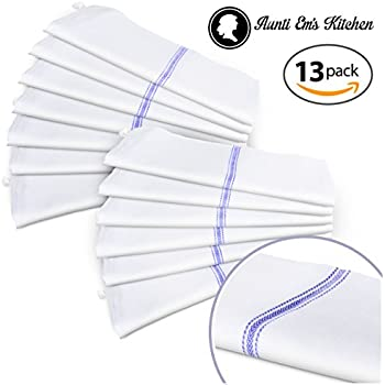 Kitchen Hand and Dish Towels by Aunti Em's Kitchen, 100% Natural Flour Sack Cotton with Hanging Loop - Bar Cleaning Cloths and Tea Towel Set, 25.5 x 14.5, White with Blue Stripe, Bulk Pack of 13