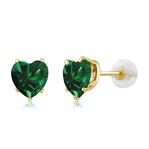 (Gem Stone King 1.36 Ct Heart Shape 6mm Green Simulated Emerald 10K Yellow Gold Stud Earrings)