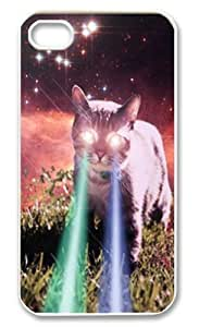 Mega Space Cat Rising Iphone 4 4s Case Cover ,Apple Plastic Shell Hard Case Cover Protector Gift Idea by runtopwell