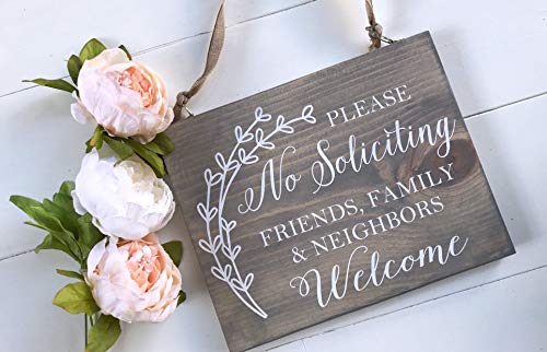 imouSde Please No Soliciting Friends Family Neighbors Welcome Wood Sign, Wooden Front Door Porch Post Or Wreath Sign, Housewarming Gift