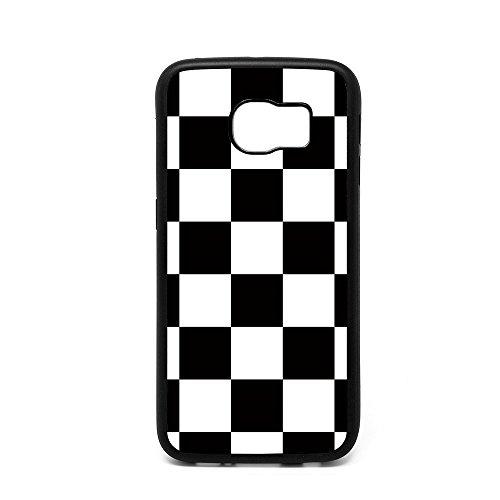Samsung S6 Edge Case, Black White Checkered Pattern Black Soft Rubber TPU Bumper Case, Customized Galaxy S6 Edge Racing Flag Design Case (Pattern Checkered Black)