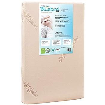 Image of Baby Moonlight Slumber Mini Crib Mattress 5' Dual Firmness: Baby Bluebird Waterproof Portable Crib & Toddler Bed Mattress : Cool Gel Memory Foam + Removable Cotton Mattress Pad. Hand Made in USA (38x24x5)
