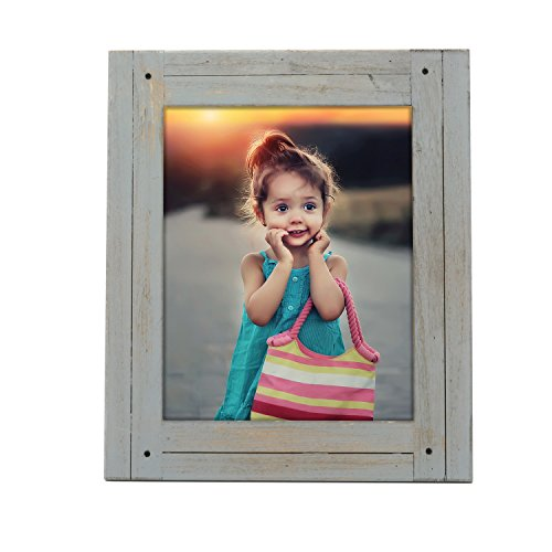 Adeco 8x10 inch Heather Grey Distresssed Wood Decorative Wall Hanging Desktop Tabletop Display Print Picture Photo Frame - Made to Display 8x10 Photo