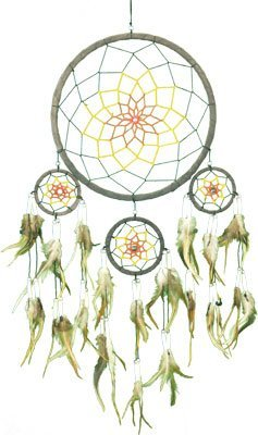 """Dreamcatcher ~ Brown Dreamcatcher with Ivory Beads and Feathers~ Approx 9"""" Diameter."""