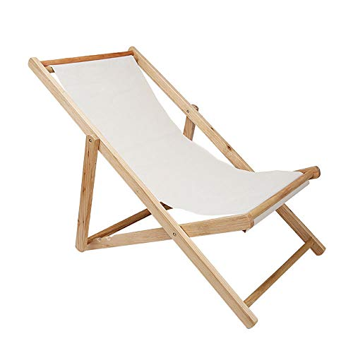 YONGYONG Outdoor Beach Chair Folding Solid Wood Oxford Canvas Chair Recliner Chair Portable Lunch Break Wooden Lounge Chair (Color : 1)