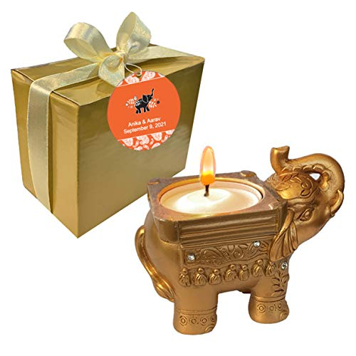 Fashioncraft, Wedding Party Bridal Shower Favors, Antique Gold Good Luck Elephant Candle Holders, Set of 50, Personalized Custom Orange Tags