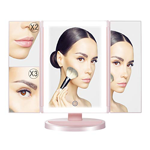 Tri-Fold illuminated Vanity Makeup Mirror with 3x/2x Magnification,LED light,Touch Screen,180°Rotating Cosmetic Mirror,Battery and USB Powered,Perfect for Bathroom and Bedroom Table Top,Pink