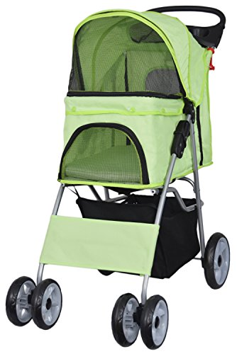 VIVO Four Wheel Pet Stroller, for Cat, Dog and More, Foldable Carrier Strolling Cart, Multiple Colors (Green) For Sale