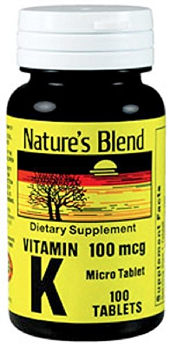 Nature's Blend Vitamin K 100Mcg Tablets 100 Ct Pack of 12 by Nature's Blend