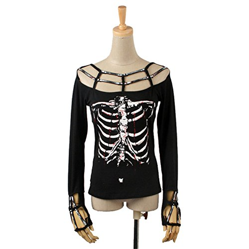 Donne Punk Skeleton Cotone T-shirt Gothic manica lunga T-Shirt camicetta Top Casual