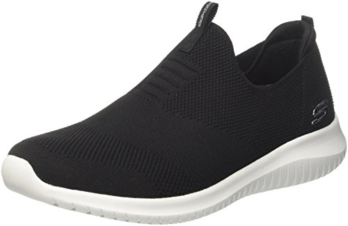 Skechers Ultra Flex First Take Womens Slip On Walking Sneakers, Black/White, 7 (Skechers Memory Foam Shoes Girls)