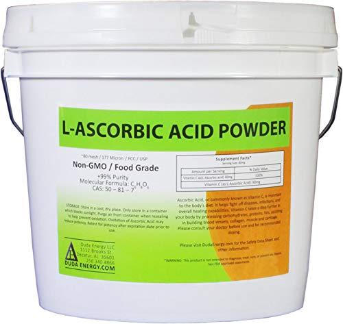Duda Energy asc8p Pail of L-Ascorbic Acid Powder 99+% Food Grade USP36/BP2012 Naturally Fermented Pure White Crystals Form of Vitamin C, 8 lb.