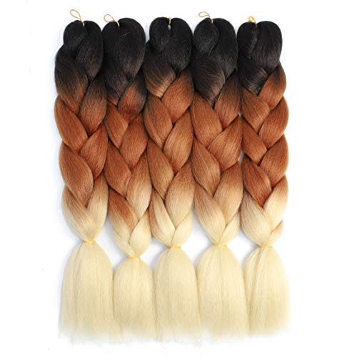 (Ombre Braiding Hair Kanekalon Braiding Hair Extensions 5pcs Black-Brown-Blonde Three Tone Color High Temperature Synthetic Braiding)