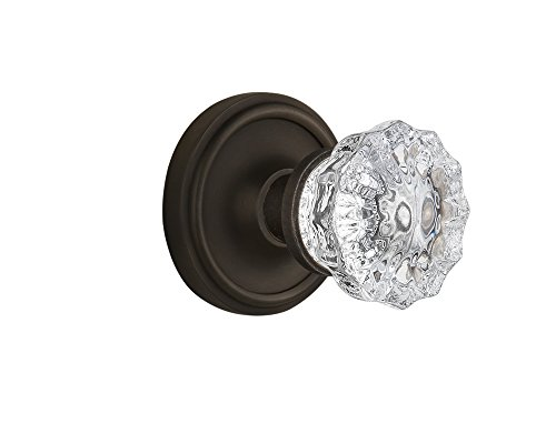 Nostalgic Warehouse BN40-CLACRY-OB Classic Rosette with Crystal Knob Privacy, Oil Rubbed Bronze