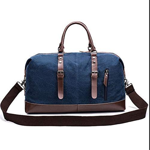 Travel Duffel Bag, Weekend Overnight Carryon Hand Bag Trim Canvas Heavy Duty Large Structured Tote Leather for Men Women Shoulder -