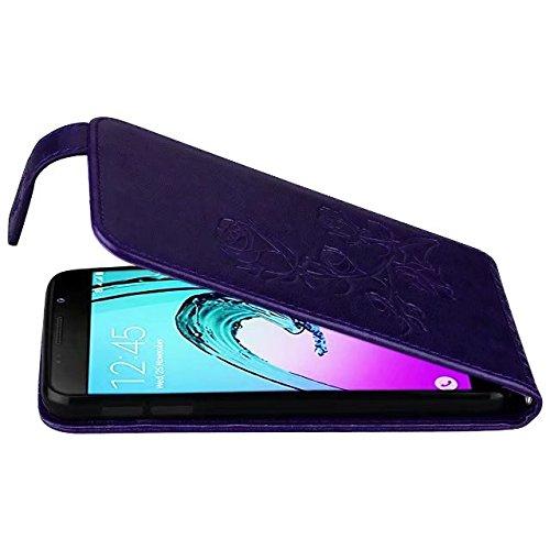 SRY Funda de cuero + TPU de la PU, estampado de flores en relieve patrón de flor de color rosa vertical con ranura para tarjeta para Samsung Galaxy A3 2016 A310 ( Color : Black ) Purple