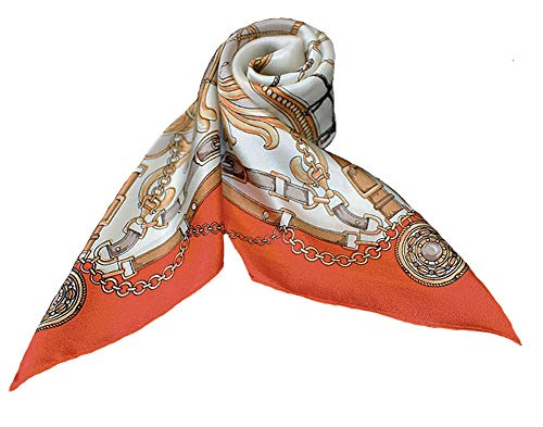 (100% Pure Mulberry Silk Small Square Scarf -21'' x 21''- Breathable Lightweight Neckerchief -Digital Printed Headscarf (Orange -Chains))