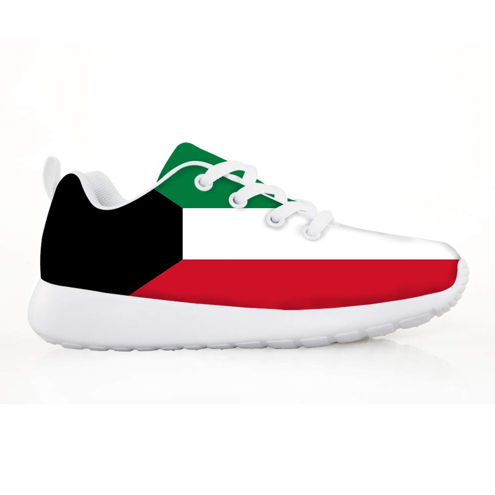 Owaheson Boys Girls Casual Lace-up Sneakers Running Shoes Kuwait Flag