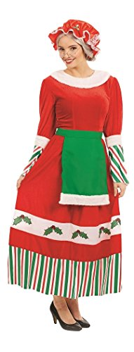 Ladies Traditional Santa Mrs Claus Xmas Mrs Christmas Festive Fancy Dress Costume Plus Size (UK -