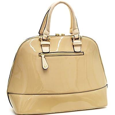 Dasein Zip Around Structured Domed Satchel Handbag Purse, Tablet, iPad Bag
