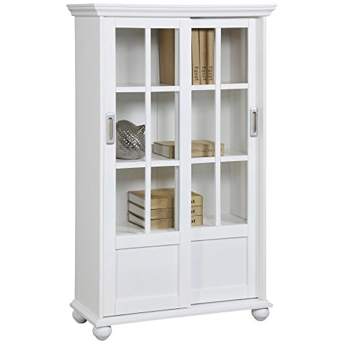 Ameriwood Home Aaron Lane Bookcase with Sliding Glass Doors White White