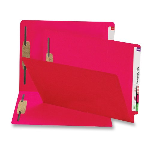 (Smead 100% Recycled End Tab Fastener File Folder, 2 Fasteners, Shelf-Master Reinforced Straight-Cut Tab, Letter Size, Red, 50 per Box (34171))