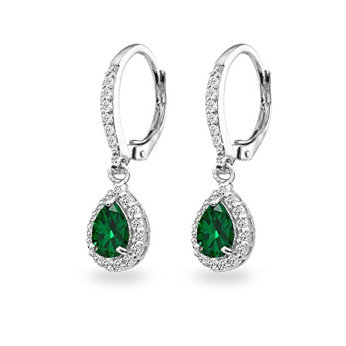 Sterling Silver Genuine, Created or Simulated Gemstone Teardrop Dangle Halo Leverback Earrings