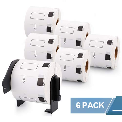 """Fimax Compatible Brother DK-1209 Address/Barcode Paper Labels Replacement, 1.1"""" x 2.4"""", Suitable for Brother P-Touch Label Printers QL-1050, QL-1050N, QL-500, QL-550, 800 Labels/Roll, 6 Rolls"""