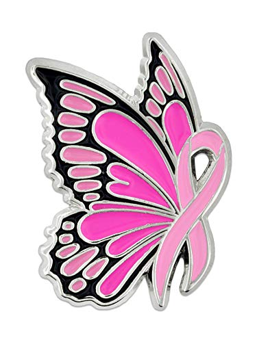 (PinMart Breast Cancer Awareness Butterfly Pink Ribbon Enamel Lapel Pin)