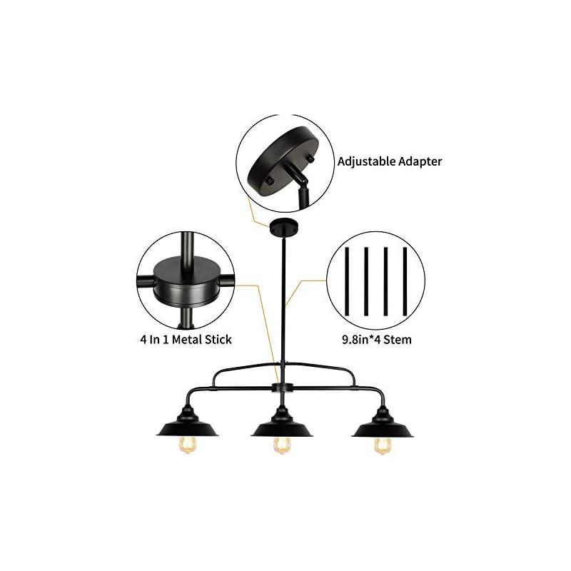 PUZHI HOME Black Pendant Lighting Fixture, 3-Lights Modern Farmhouse Chandelier with Metal Shades Kitchen Island…