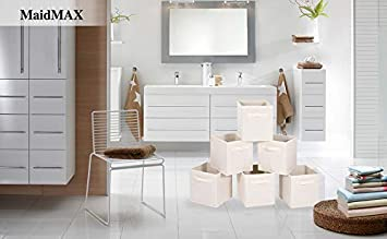Set of 6 Foldable MaidMAX Cloth Storage Cubes Bins Baskets Containers with Dual Handles for Home Closet Nursery Drawers Organizers