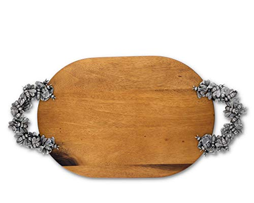 Vagabond House Pewter Flower and Bee Oval Acacia wood Cheese Tray 22 Inches Long
