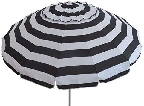 8 Portable Beach Umbrella with Sand Anchor, Tilt Pole, Carry Bag, Air Vent UPF 50 Black White Stripe 8 FT with Tilt, Stripe Black White