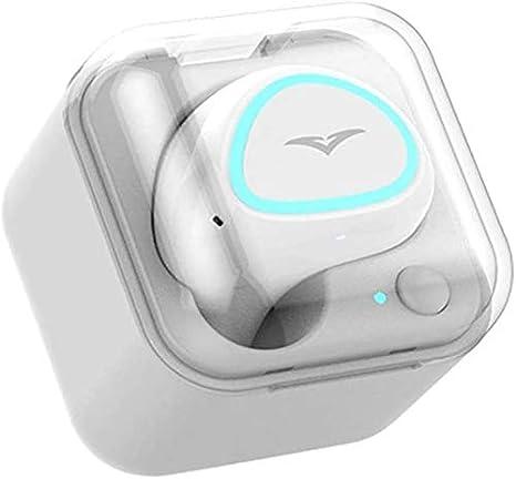 LLDKA Auricular de la Oreja en la Oreja Bandeja portátil inalámbrico Bluetooth Mini Auricular Invisible,Blanco