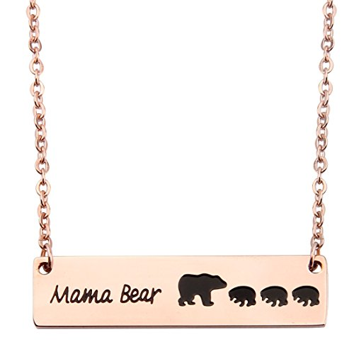 KUIYAI Sweet Family Mama and Baby Bear Rose Gold Bar Necklace Gift for Mothers with 3 Children (bar 3 Cubs Rose Gold)