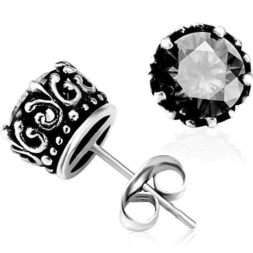Retro Vintage Celtic Knot Stainless Steel Fire Crystal Stud Earrings (Black)