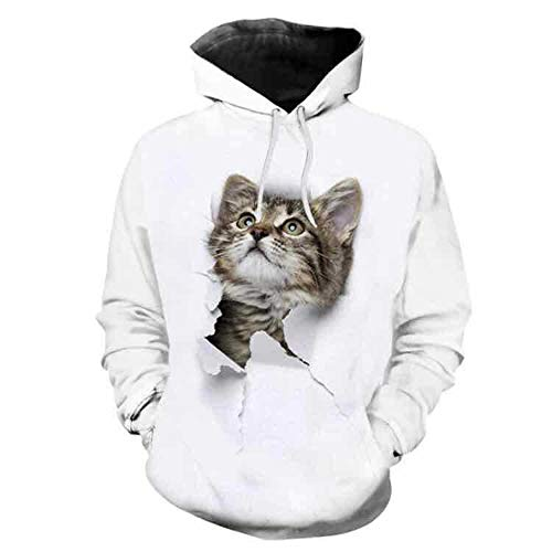 - Men's 3D Graphic Print Realistic Casual Long Sleeve Hoodie Pullover Sweatshirt (white03,2XL)