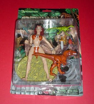 """Cavewoman, Variant Outfit, 7"""" Poseable Action Figure on a Base with Knife, 2 Dinosaurs and a Large Bug"""