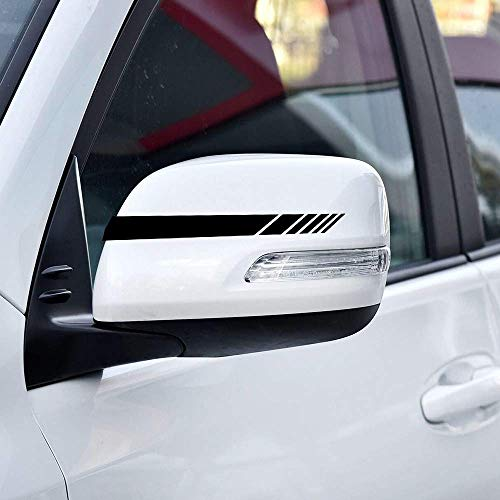 biinfu Rearview Mirror Stripe Car Stickers, Mirror Paster, Modified Decals, Flower Rearview Mirror Stickers, Stickers Waterproof Sunscreen Car Stickers-Black