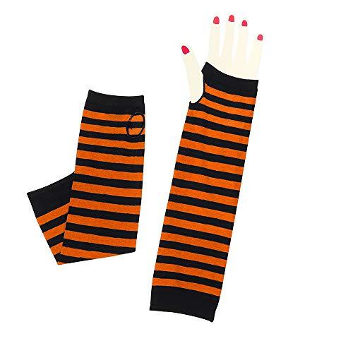 Euone  Gloves, Womens Sunscreen Wrist Arm Hand Warmer Polyester Long Fingerless Gloves Mitten (F) (18' Polyester Long)