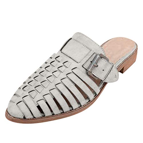 ✔ Hypothesis_X ☎ Womens Pointed Toe Ballet Flat Comfort Slip On Hollow Belt Buckle Cute Leather Slippers Beige