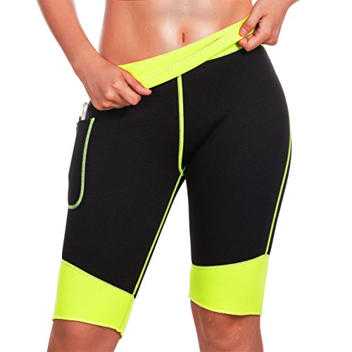 TrainingGirl Hot Neoprene Sauna Sweat Shorts with Pocket for Women Weight Loss Slimming Pants Workout Body Shaper Yoga Leggings (Black Hot Sauna Shorts, XL)