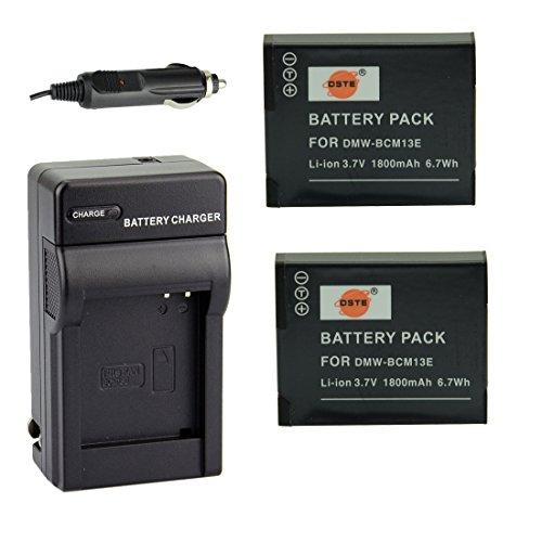DSTE 2x DMW-BCM13 Batería + DC145 Adaptador de viaje y coche Cargador para Panasonic Lumix DMC-TZ60 ZS30 ZS35 ZS40 ZS45 LZ40...