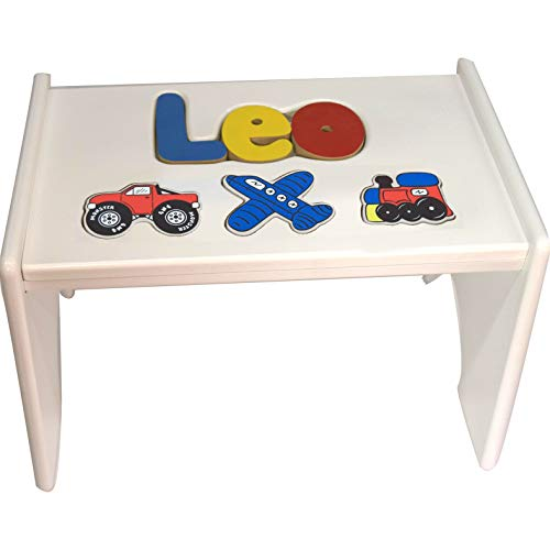 - Personalized Transportation Wooden Puzzle Stool- Stool Color: White, Letter Color: Primary, 1-8 Letters